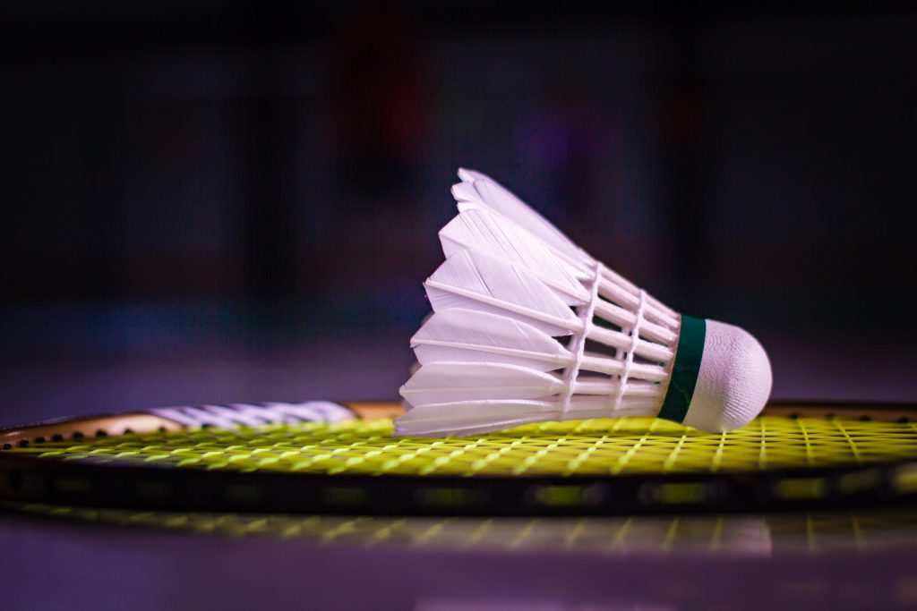 Shuttlecocks and badminton racket on court background.